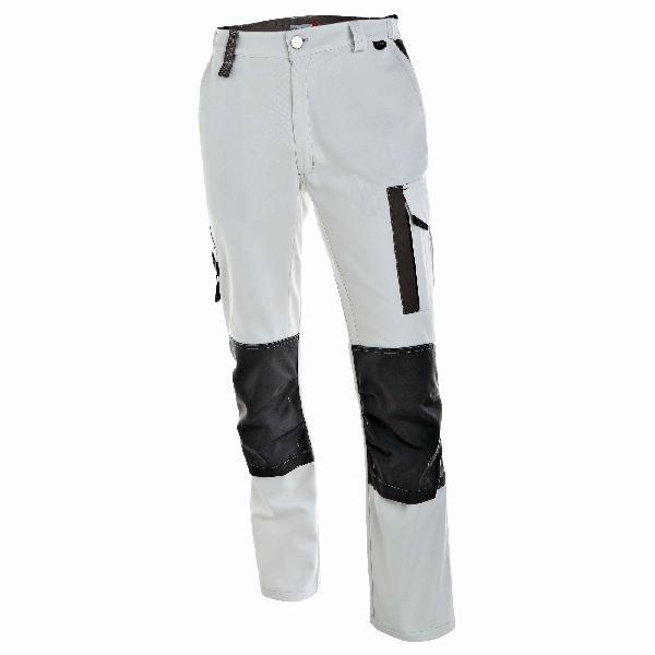 Pantalon genouillères WHITE AND PRO blanc/gris T.42