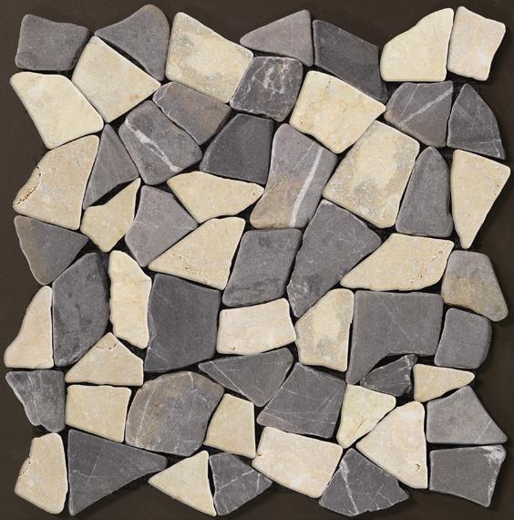 Galets PALLADIANA gris blanc plaque 30x30cm