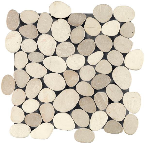 Galet CIOTOLO blanc/beige plaque 30x30cm