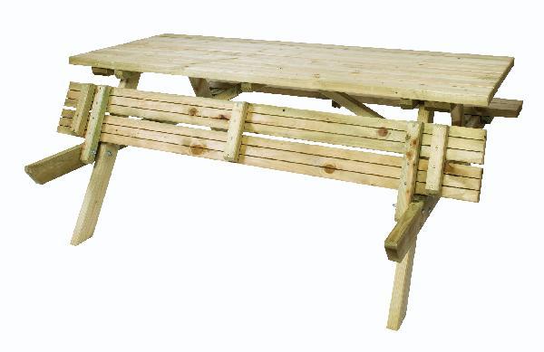 TABLE PIQUE-NIQUE PIN 153X177CM H.71CM