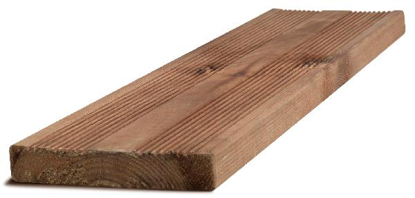 Lame terrasse pin traité CL4 brun 2 peignes 27x145mm 3,60m