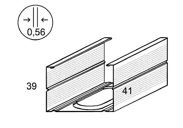 Montant métal 70/40 3,60m