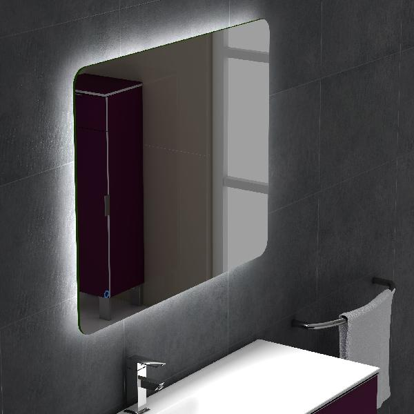 miroir salle de bain led anti bu e 80x100cm. Black Bedroom Furniture Sets. Home Design Ideas