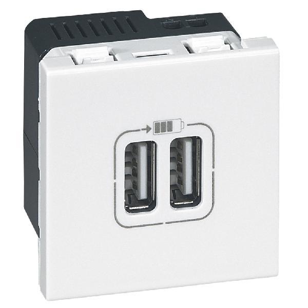 DOUBLE USB BLANC MOSAIC