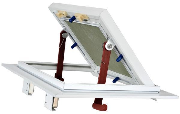 Trappe visite cadre alu blanc plaque hydro poussez/lachez 700x700mm