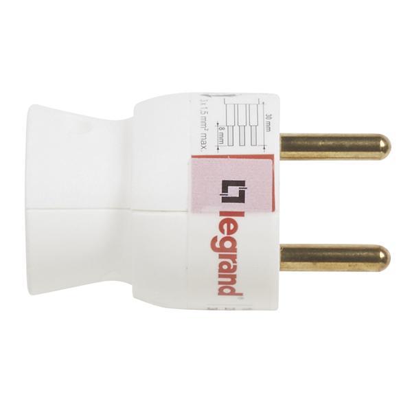 Fiche 2P+T plastique 16A sortie latérale blanc