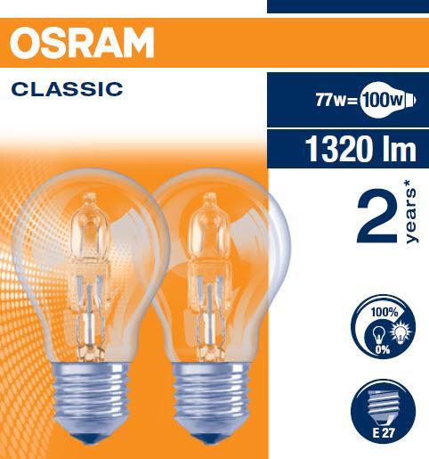 Ampoule HALOGEN CLASSIC A 77W E27 boite 2