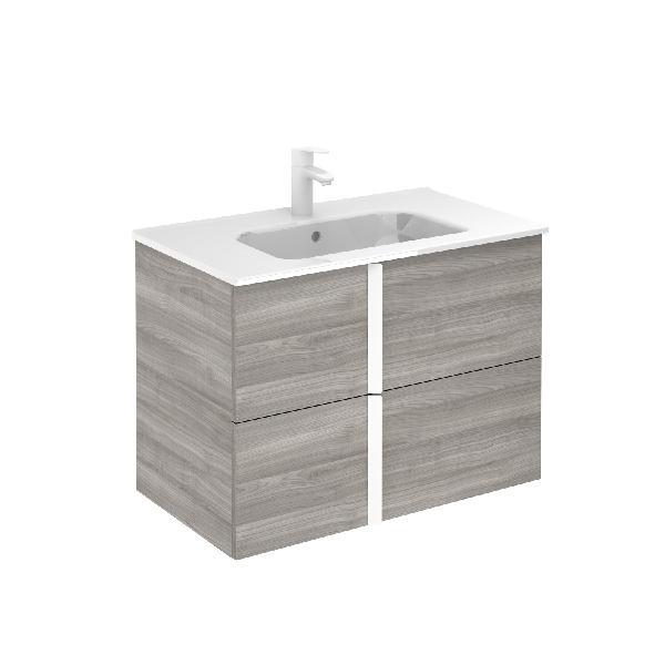 Meuble salle de bain ONIX 2 tiroirs gris sable 79,5x56,5x44,3cm