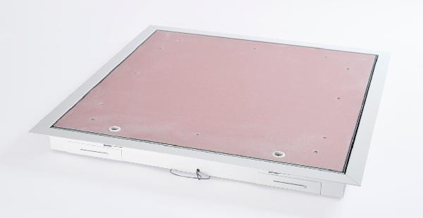 Trappe plafond cadre alu blanc plaque coupe feu 1h 600x600mm