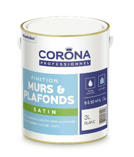 Peinture satinée CORONA blanc 3L
