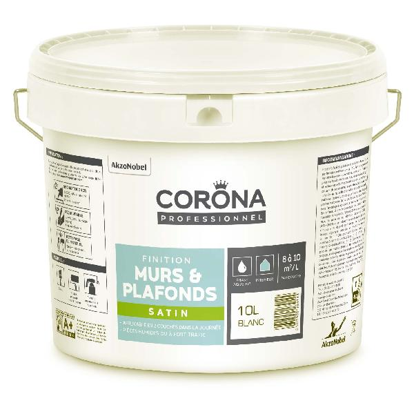 Peinture satinée CORONA blanc 10L