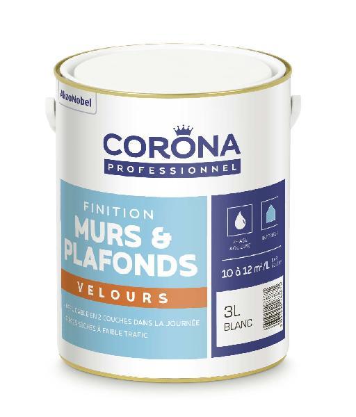 Peinture velours CORONA blanc 3L
