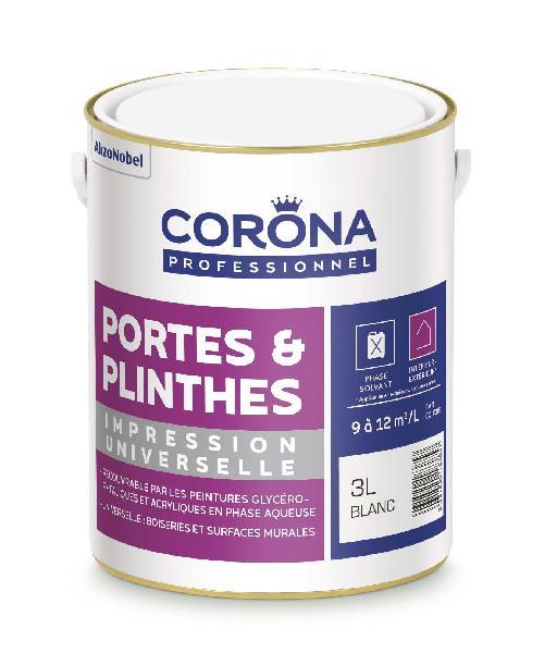 Peinture impression universelle portes et plinthes CORONA blanc 3L