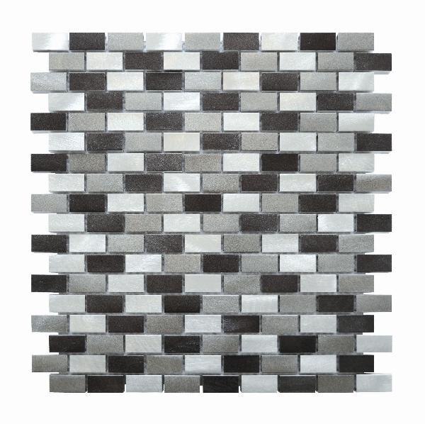 Mosaïque ALU BRIQUETTE gris noir 30cm x30cm