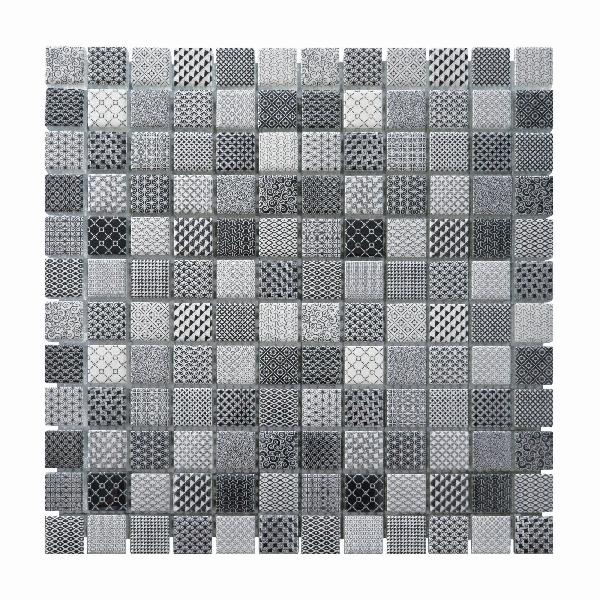 Mosaïque RESINE mix gris 2,3cm Ep.8mm plaque 30x30cm