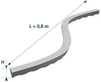 Réglette fibrobéton DRUFA S enrobage:30mm 0,80m