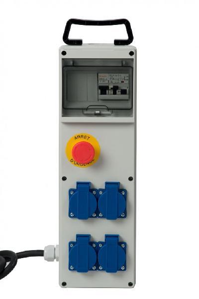 Coffret monophasé 4 prises à clapet 2P+T 16A 250V + arrêt d'urgence