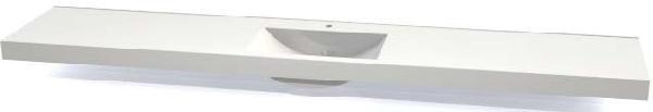 Plan EXTENSO moulé duroplast blanc 170x50x8cm 1 vasque