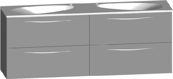 Meuble sous vasque SLIM 4 tiroirs et 2 vasques blanc 160,2x62,2x40cm