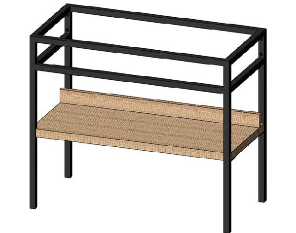 Console STEEL 1 étagère noir mat et hêtre lamina 90,3x78x45,8cm