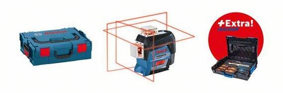 Laser plan GLL 3-80C + support BM1 rouge 12V coffret +accessoires