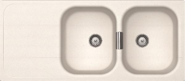 Evier WEMBLEY 2 bacs 1 égouttoir blanc cristadur