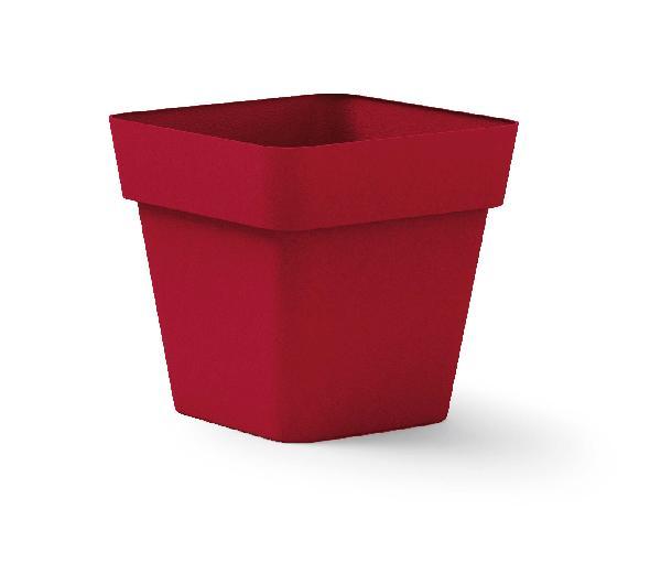 Pot carré CLEO rouge polyéthylène 40x40cm H.39cm