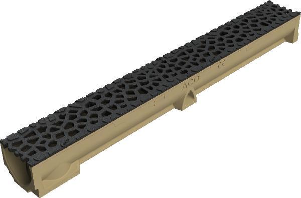 Caniveau polymère SELF 100 H9,5 + grille VORONOÏ noir B125 1m