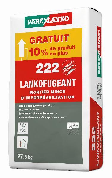Mortier mince imperméabilisation 222 LANKOFUGEANT gris sac 25kg + 10%