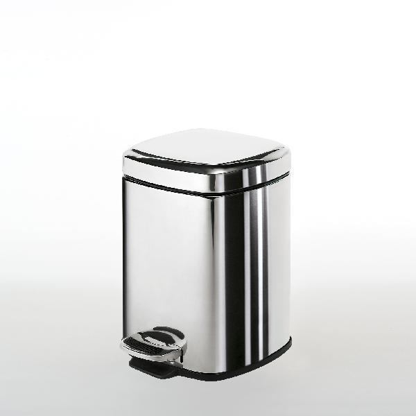 Poubelle salle de bain carrée 16,5x21,5cm chromée