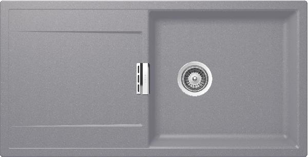 Evier MONO 1 grand bac 1 égouttoir gris clair cristadur 51x100cm
