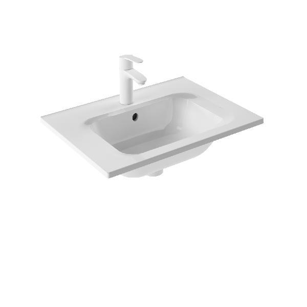 Plan vasque NOTTE polybéton blanc 60x1,5cm P.46cm