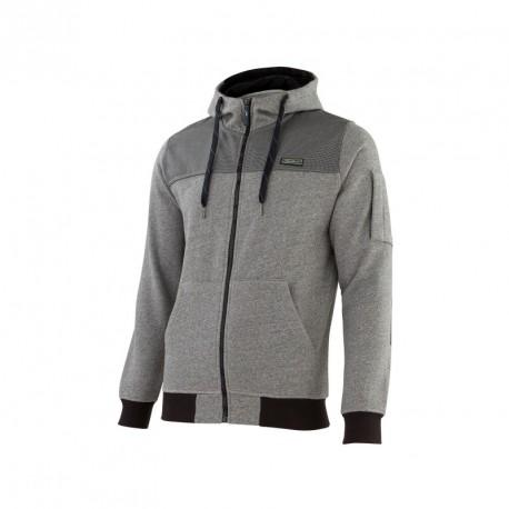 Sweat à capuche zippé gris mouliné T.L