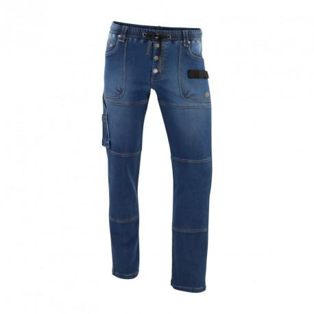 Pantalon STRETCH DENIM MOLLETON bleu T.48