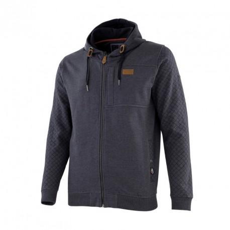 Sweat à capuche zippé bleu chiné T.XL