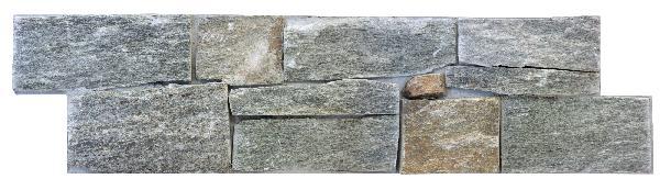Parement quartzite sur ciment BALI 15x55/60cm Ep.20-40mm gris mordoré