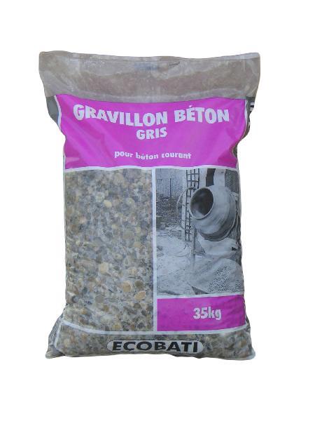 Gravier 6/16 gris pour béton sac 35kg