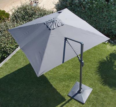 Parasol aluminium inclinable déporté gris 3 x3m