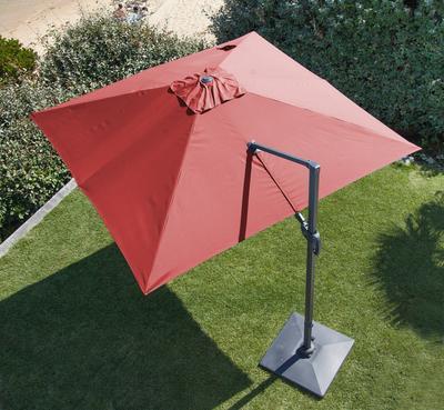Parasol aluminium inclinable déporté rouge 3 x3m