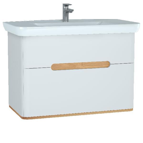Meuble salle de bain SENTO 2 tiroirs blanc 98x68,5x48,5cm