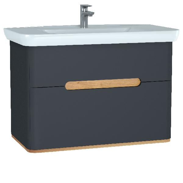 Meuble salle de bain SENTO 2 tiroirs anthracite 98x68,5x48,5cm