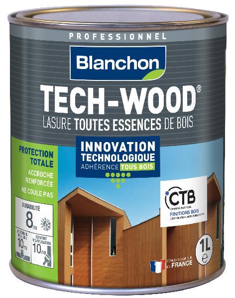 Lasure bois TECH-WOOD aspect satiné chêne moyen bidon 1L