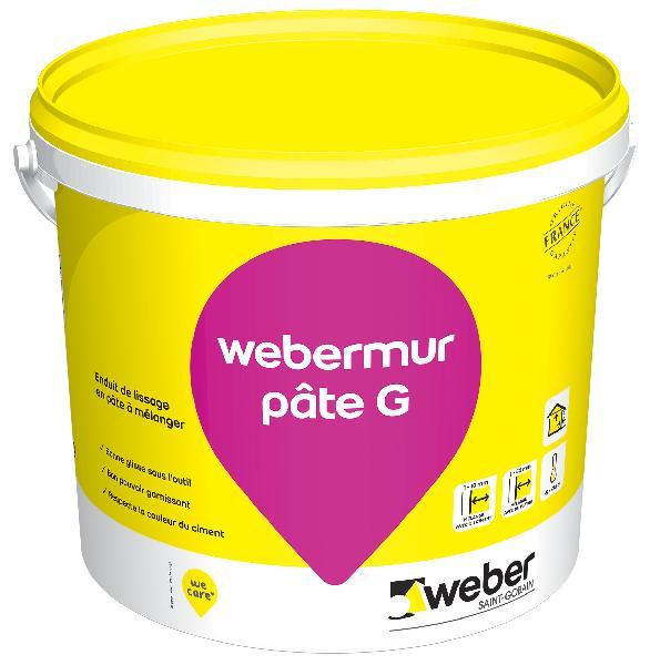Enduit lissage WEBERMUR PATE G gris seau 25kg
