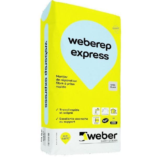 Mortier réparation WEBERREP EXPRESS gris clair fibré R3 sac 25kg