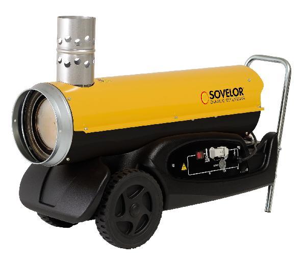 Chauffage air pulsé mobile fuel, gasoil ou GNR 21kW avec cheminée