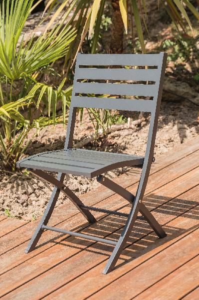 Chaise aluminium pliante grisant