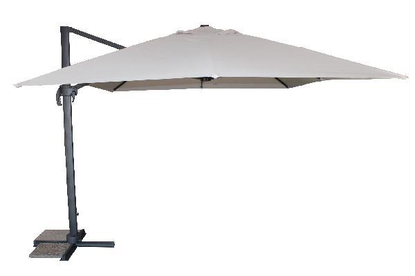 Parasol alu excentré gris 400 x300cm