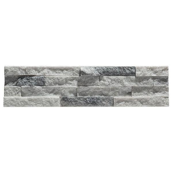 Parement quartzite sur résine SLIM 16 10x40cm gris clair