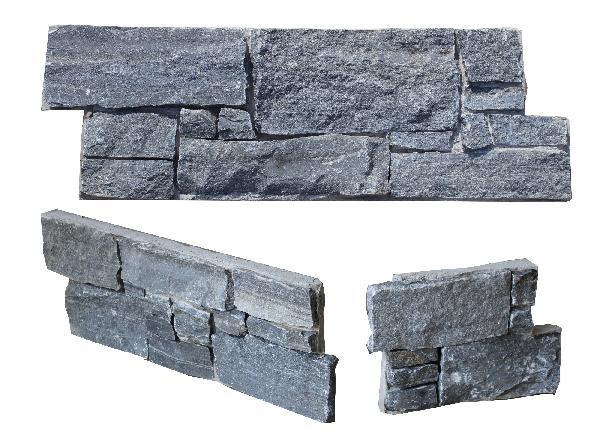 Parement angle quartzite sur ciment SPRIMONT 20x60cm Ep.40-50mm gris