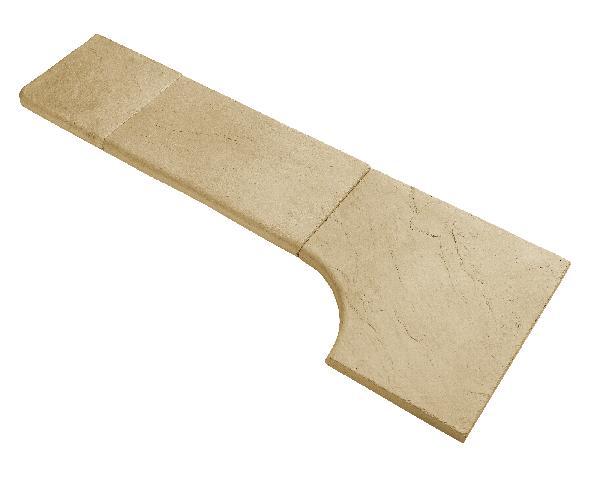 Margelle droite pierre reconstituée CALCARA 32x60cm Ep.35mm miel clair